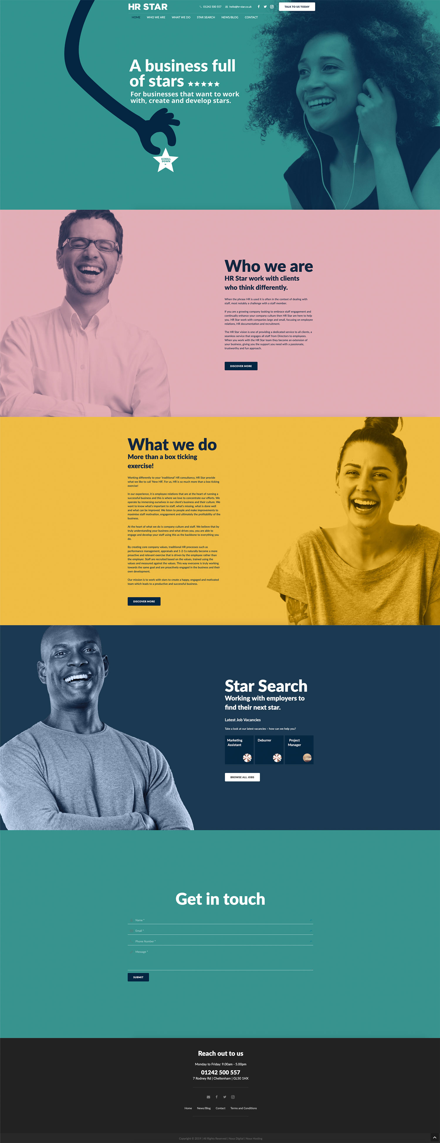 HR Star Home Page Website Design and Build by Nous Digital in Gloucester