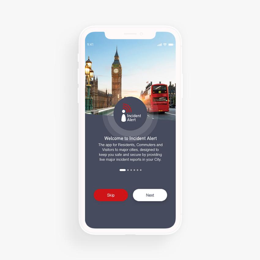 Incident Alert Mobile App Design Home Screen by Nous Digital Gloucester