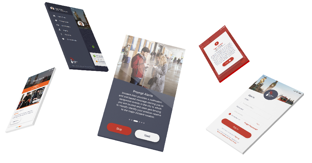 Incident Alert Screens Mobile App Design Gloucester