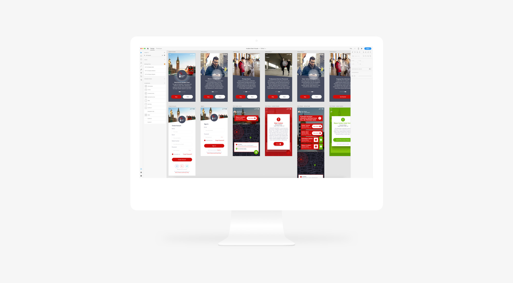 Wireframe Visuals for Incident Alert Mobile App by Nous Digital Gloucester